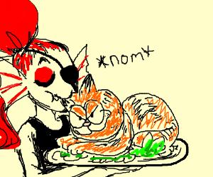 Undyne snacks on Garfield