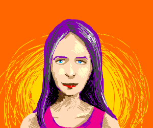 Girl with purple hair and pink shirt