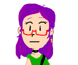 Purple-haired woman