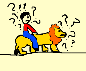 confused man riding confused lion