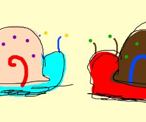 Garry the Snail vs. Red Garry the Snail.