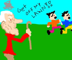 old man despises kids on his lawn