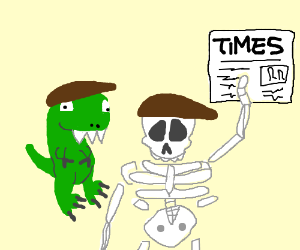 Cute Dino and fat skeleton bring the news