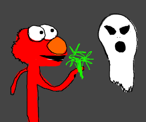 Elmo gives grass to Ghost Alien