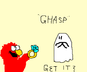 Elmo proposes to ghost