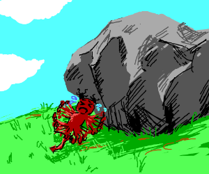 A demon is stuck to a giant boulder