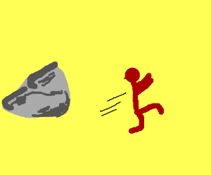 Red Man running from Rock