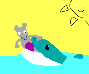 Mewtwo gets eaten by a shark