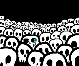 Sans hiding in the skeleton crowd.