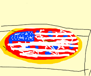 RED WHITE AND BLUE pizza cuz 'MURIKA