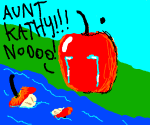 An apple finds his dead relative in the river