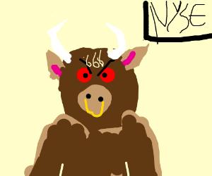 Bull market 6 6 6 on forehead