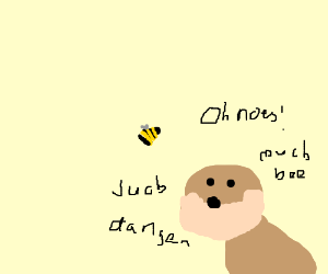 doge about to be stung by a bee