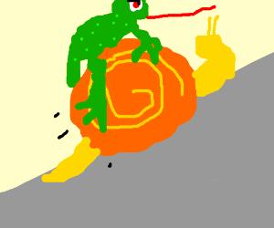 Gotta go fast! Frog rides a snail.