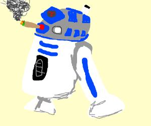 R2-D2 smoking weed