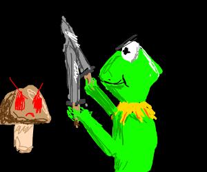 kermit with sword vs. angry brown mushroom