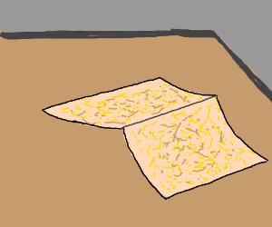 Sad paper has creased corner