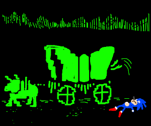 Sonic gets dysentery (Oregon Trail game)