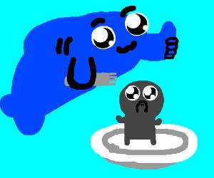 A fish eating a man