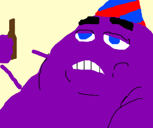 Purple Grimace loves to party