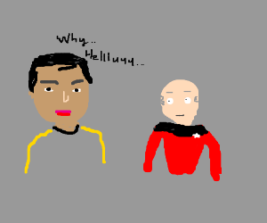Sulu flirts with captain picard