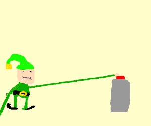 Elf with long arm touches a button