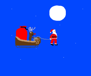 Santa is now pulling the sled