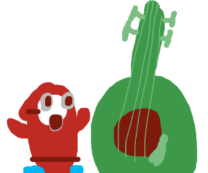 red guy who is amazed by a giant green guitar