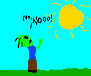 Zombie is dying because of sunlight. NO, NOOO!