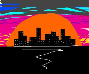 The city skyline at sundown