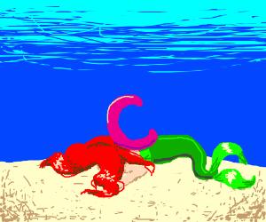 """""""C"""" under the sea crushes Ariel."""