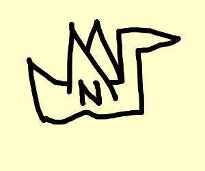 Paper crane w/ N in front
