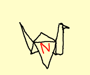 """origami crane with """"N"""" written on it"""