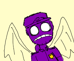 Guy with purple hair and black angel wings
