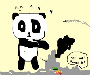 Kawaii Panda acting as Godzilla