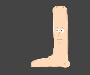 Man's body is a leg.