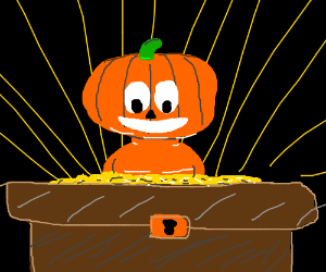 Pumpkin totally stoked about loot