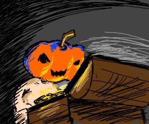 Pumpkin head kid finds chest full of treasure.
