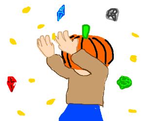 Pumpkin headed adventurer finds the treasure