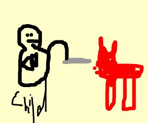 Evil child tortures a red cat