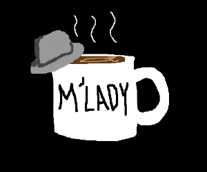 A cup of coffee tips its fedora