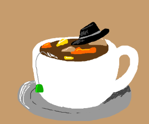 Your tea is now a stew. With a hat in it.