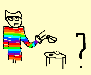 Rainbow Wolverine  on a tea party with