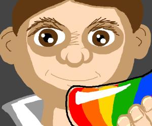 guy ixing rainbows in a beaker