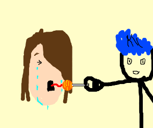 crying woman sucks lollipop for blue hair man