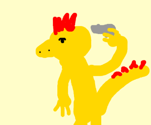 Yellow dinosuar has gun pointed at self