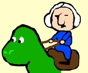 George Washington riding a T-Rex into battle - Drawception