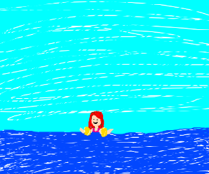 Redhead girl loves floating in water