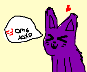 The cutest purple cat says <3 omg xoxo.