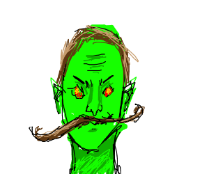 Creepy green dude with mustache